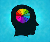 Profile of silhouette with colorful colors symbol — Stock Photo