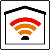 Wifi wave sign in house — Stock Photo