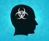 Profile of silhouette with biohazard symbol — Stock Photo