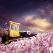 Bulldozer with piles of money - Stock Photo