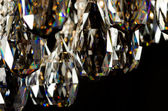 Contemporary glass chandelier crystals closeup — Stock Photo