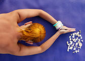 Yoga practice. Woman meditating shot from above — Stock Photo