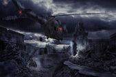 Helikopter harabe şehrin üzerinde fırtına sırasında — Stok fotoğraf