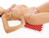 Woman doing self massage — Stock Photo