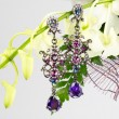 Jewellery on flowers — 图库照片