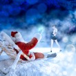 Santa relaxing at night — Stock Photo
