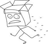 Running man with open box head — Stock Vector
