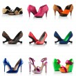 Collection - various types of female shoes — Stock Photo
