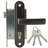Door lock with handle and keys — Foto de Stock