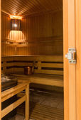 Interior of finnish sauna — Stock Photo