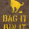 Bag and bin dog mess sign - Stock Photo