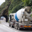 Mixer truck and tunnel — Stock Photo
