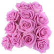 Bouquet of pink roses over white background — Stock fotografie