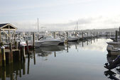 Boats in the marina by the Niantic River in Connecticut — Stock Photo