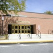 Stock Photo: Old high school gymnasium entrance