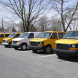 Row of school vans — Stock Photo