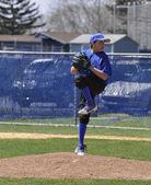 Genç çocuk baseball sürahi — Stok fotoğraf