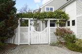 Fancy garden gate — Stock Photo