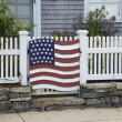 American flag decoration on fence — Stock Photo #35152235