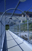 Metal chainlink fence over a walkway — Stock Photo