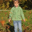 Cute little girl is playing with leaves in autumn park — Stock Photo
