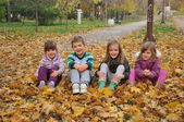 Kids playing in the autumn park — Stock fotografie