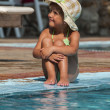 Happy Little Girl in Swimming Pool — Stock Photo