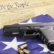 Handgun and Constitution - Stock Photo