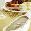 Gravy Boat and Dinner — Stock Photo
