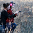 Mom and Daughter Shooting — Stock Photo