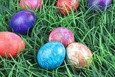 领带染草的复活节彩蛋 — 图库照片