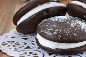 Three Whoopie Pies or Moon Pies — Stock Photo