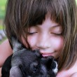 Little Girl and Her Mini Schnauzer — Stock Photo #26783093