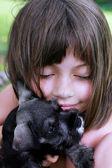 Little Girl and Her Mini Schnauzer — Stock Photo