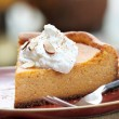 Pumpkin Cheesecake Pie with Whipped Cream — 图库照片