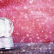 Empty Snowglobe Against Red — Stock Photo