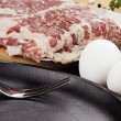 Frying Pan with Fresh Eggs and Bacon — Stock Photo #40117641
