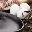 Pan with Fresh Eggs and Bacon — Stock Photo #40117685