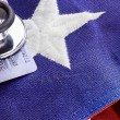 Stethoscope and American Flag — Stock Photo