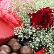 Chocolates and Beauitful Roses — Stock Photo