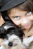 Beautiful Girl and Her Puppy — Stock Photo