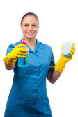 Beautiful young cleaning lady isolated on white. — Stock Photo