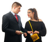 Surprised young businessman giving too much money to the lady of questionable moral — Stock Photo