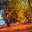 Landscape painting showing trees on the river shore on sunny autumn day. — Stock Photo #13126090