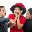 Teenagers dressed in costumes for halloween isolated on white — Stock Photo