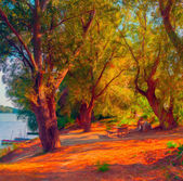 Landscape painting showing trees on the river shore on sunny autumn day. — Stock Photo