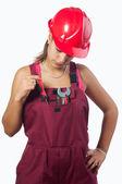 女机械师与安全帽和工作服上白色隔离 — 图库照片
