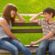 Stock Photo: Teenage boy and girl in love