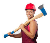 Young smiling female woodcutter with hard hat holding huge ax isolated on white — Stock Photo