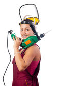 Beautiful smiling female construction worker with drilling machine isolated on white — Stock Photo